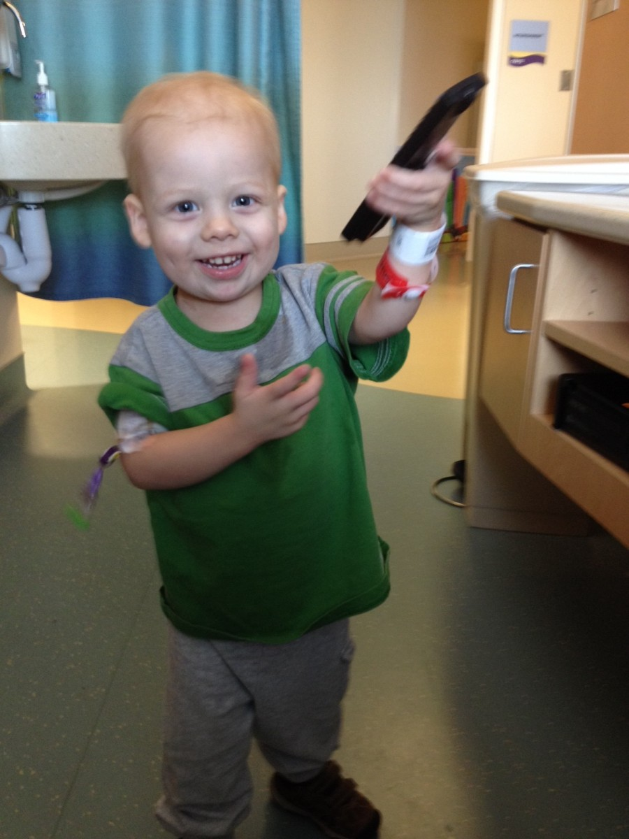 Liam full of energy after getting platelets and red blood cells