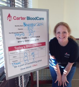 Jennifer gave blood for the first time in 20 years today!